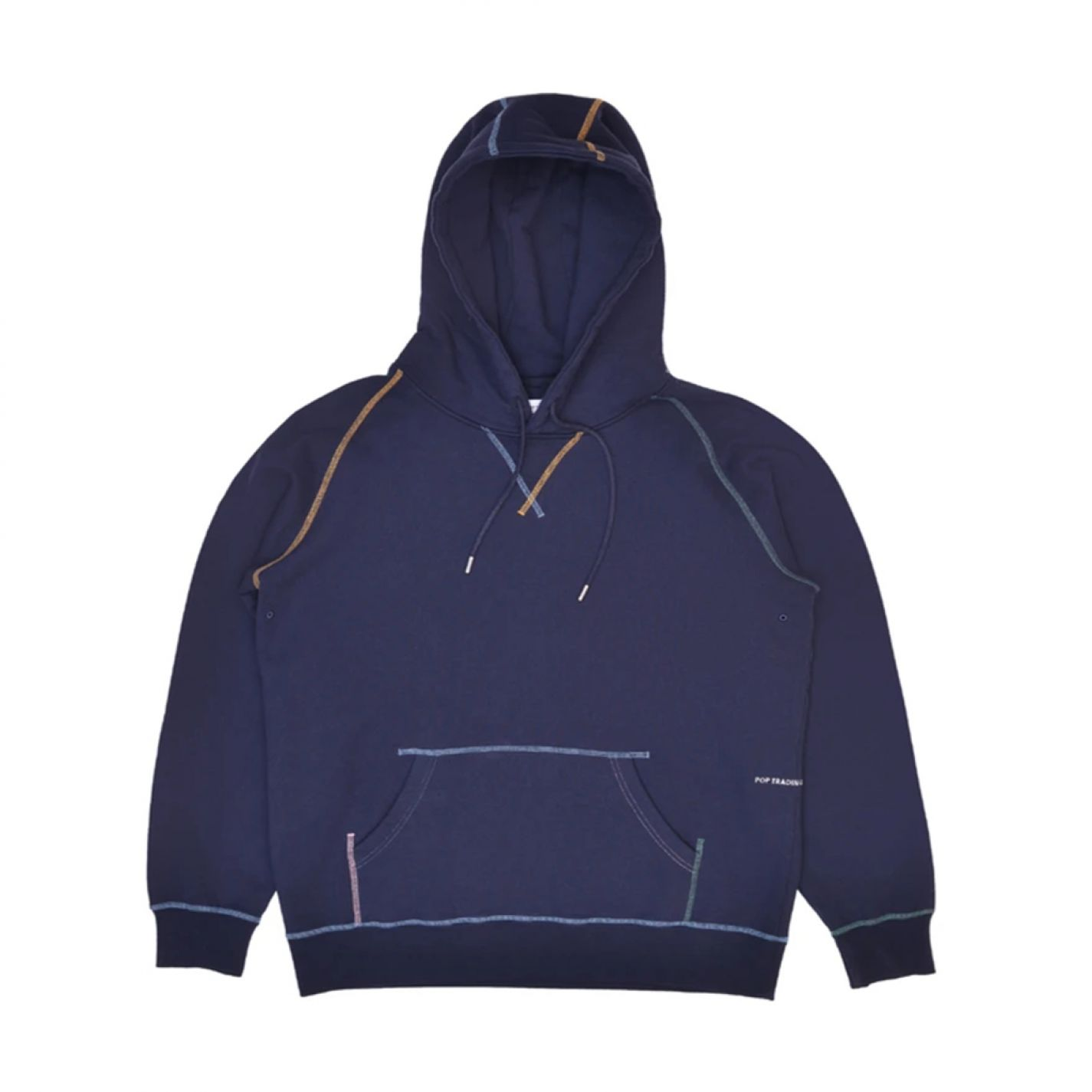 Pop Trading Logo Embroidered Hooded Sweat Navy